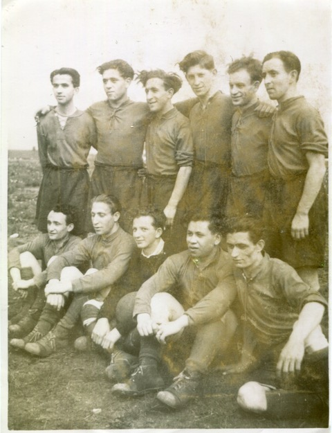 Photograph of Arek Hersh, holocaust survivor, playing football in Manchester in 1953, from the HOlocaust Survivors' Friendship Association